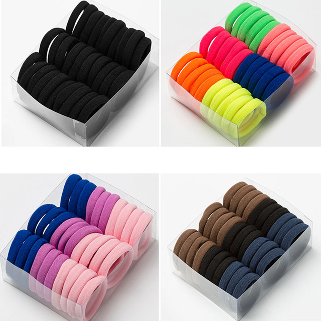 30PCS Women Girls 4CM Colorful Polyester Elastic Hair Bands Ponytail Holder Rubber Bands Scrunchie Headband Hair Accessories 2