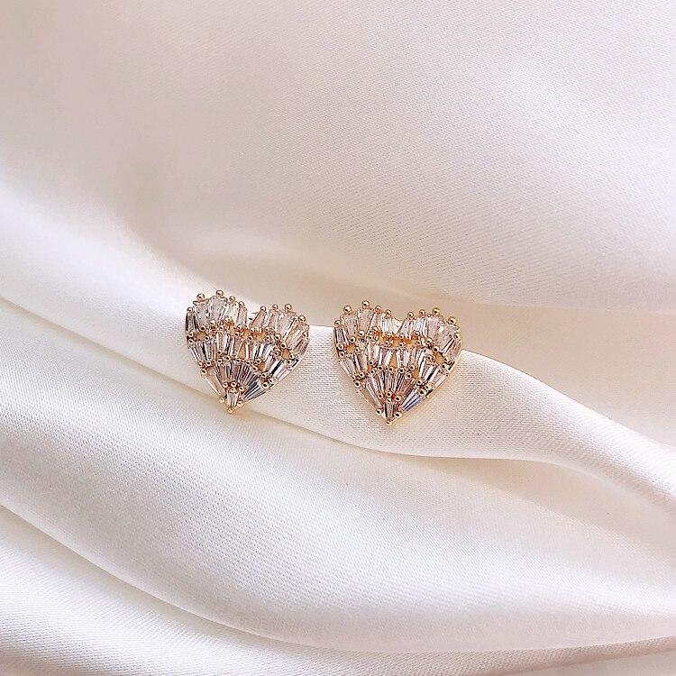 Japan and South Korea new design hot fashion jewelry luxury copper inlaid zircon earrings elegant love earrings for women gift