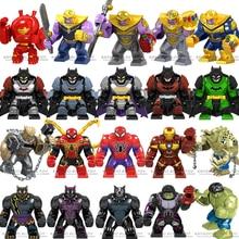 Мстители супер герой танос Халк Железный человек паук Халк Бэтмен Черная пантера большие фигурки строительные блоки игрушки для детей