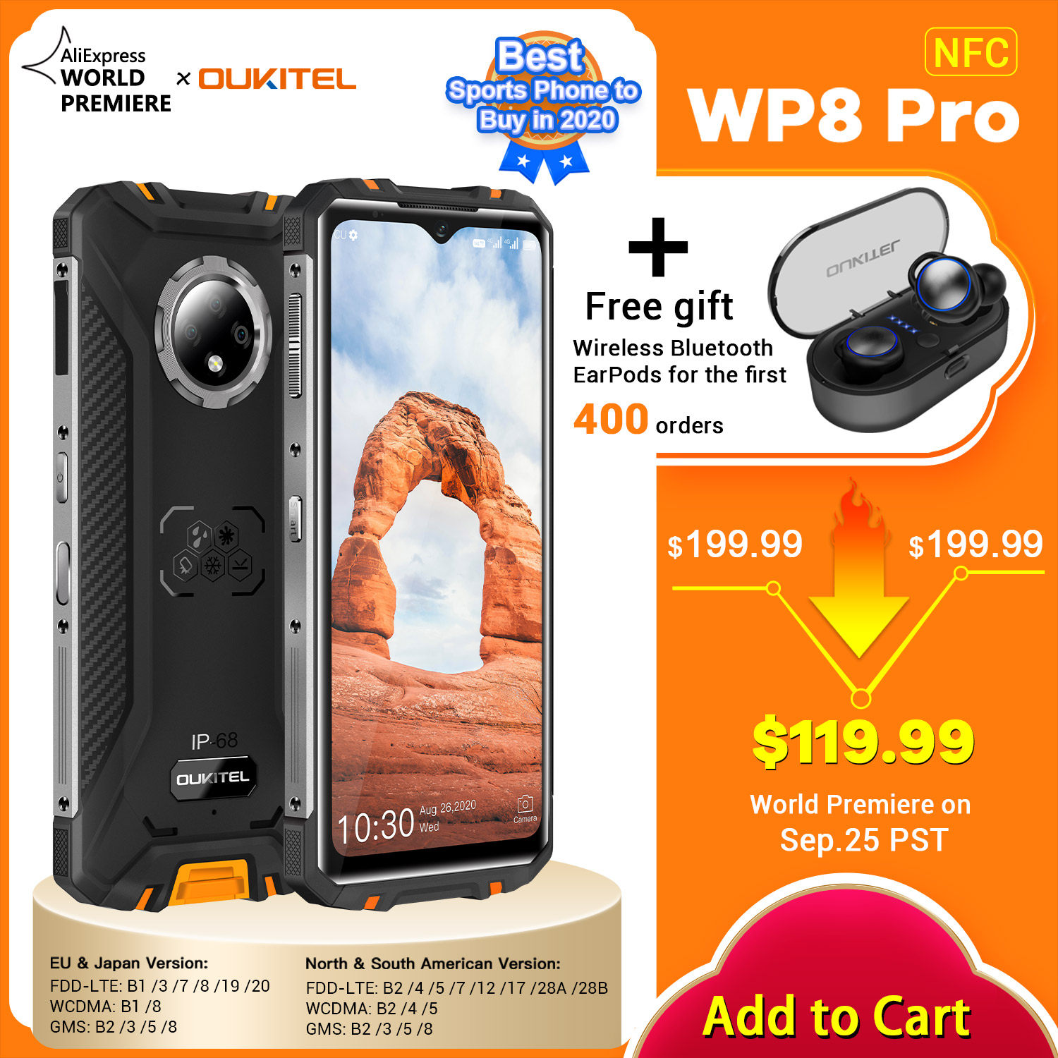 Newest OUKITEL WP8 Pro NFC IP68 Rugged Sports Phone mobile 6.49'' Fingerprint Android 10 4GB 64GB 5000mAh 16MP Triple Camera