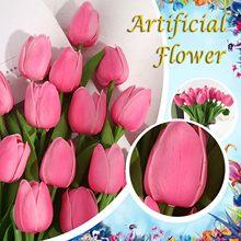 Tulipa flores bouquet artificial decoração de casamento decoração para casa decoração real toque colorido ornamento 10 pçs tulipán falsa flor