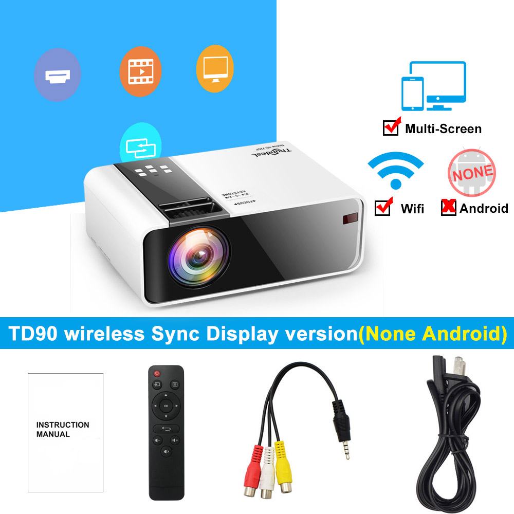 ThundeaL TD90 Native 720P Projector Android WiFi Bluetooth Projector 3D Video Movie Party Mini Proyector Portable Home Theater 5