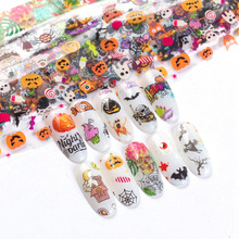 4*100cm Holographic Nail Art Transfer Foil Stickers Paper Christmas Halloween Festival Style UV Gel Wraps Adhesive Decals