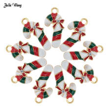 Julie Wang 5pcs Alloy Enamel Christmas Candy Cane Charm With Rhinestone Women Bracelet Necklace Pendant DIY Accessory Xmas Decor