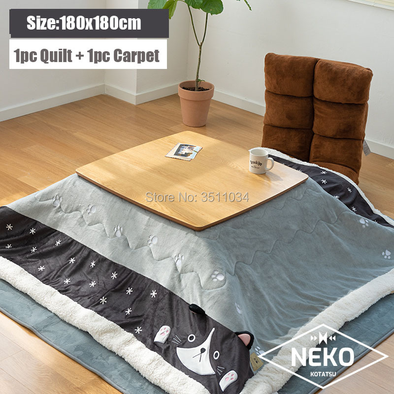 180x180cm Kotatsu Futon Blanket 1pc Funto + 1pc Carpet Cotton Soft Quilt Japanese Kotatsu Table Cover Square/Rectangle Comforter