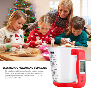 Electronic Measuring Cup Large Capacity Kitchen Scales Digital Beaker Host Weigh Temperature Measurement Cups With LCD Display image