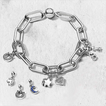 цена на Genuine 925 Sterling Silver Bracelet Me Link Snake Chain Pattern Circular Clasp Bangle Fit Women Bead Charm Fashion Jewelry