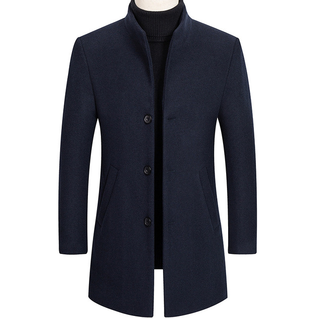 Thoshine Brand Autumn Winter 30% Wool Men Thick Coats Stand Collar Male Fashion Wool Blend Jackets Outerwear Smart Casual Trench 3