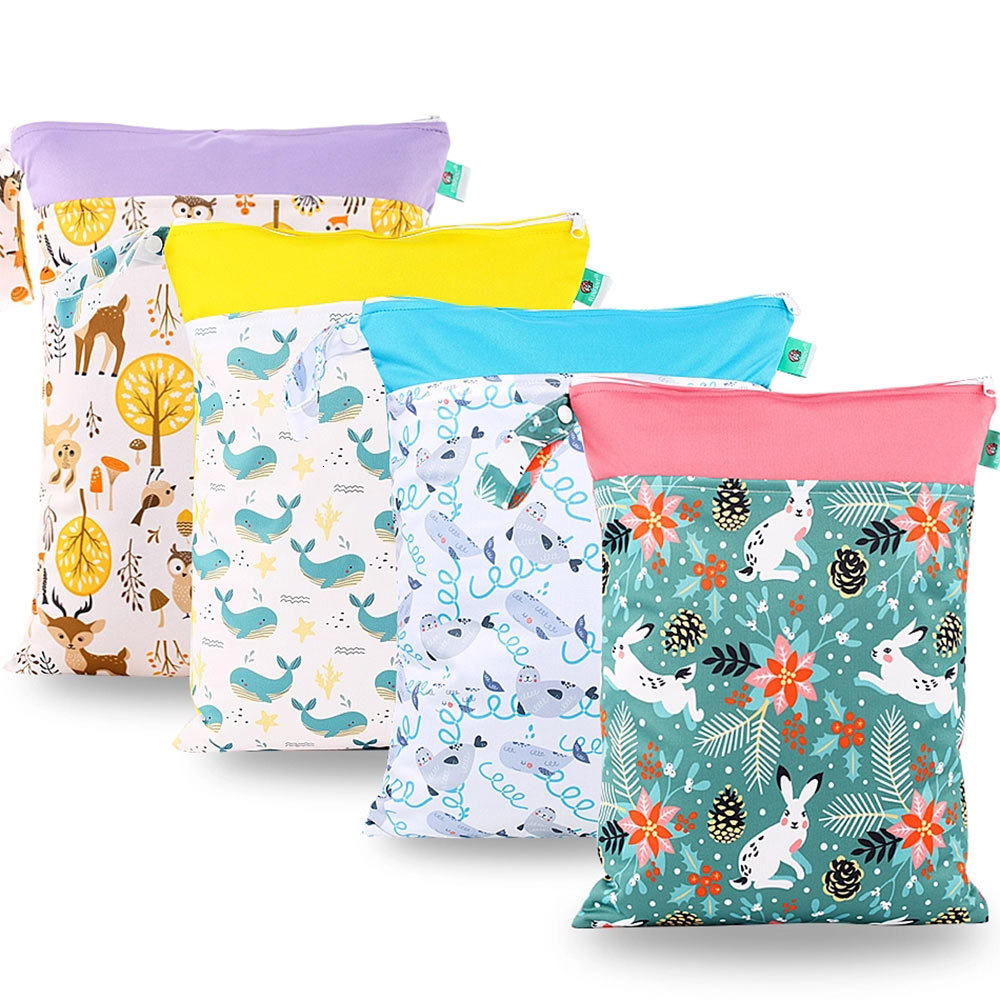 30x40cm Diaper Bags Waterproof Reusable Hanging Wet/Dry Pail Print Bag Cloth For Baby Diaper Inserts Nappy Laundry With Zipper