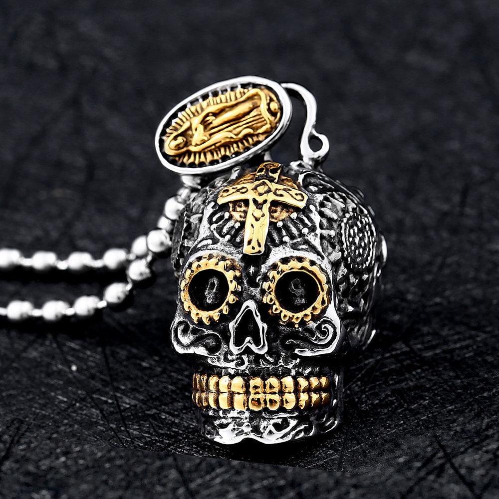 Mexican Large Sugar Skull Green Crystal Pendant Necklace Vintage Gold  Silver Color Punk Biker Necklaces for Women Men Jewelry|Pendant Necklaces|  - AliExpress