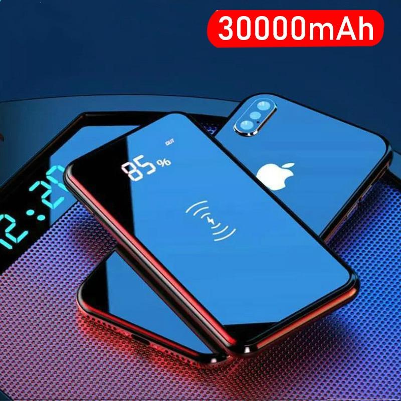Qi chargeur sans fil 30000mah batterie d'alimentation chargeur sans fil pour iPhone Samsung batterie externe batterie intégrée Powerbank Portable