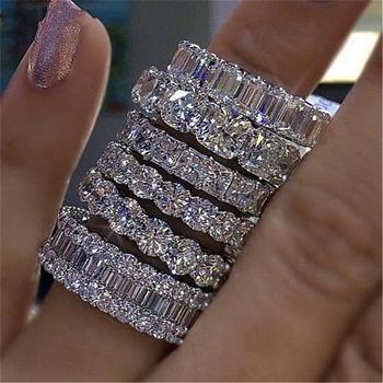 Luksusowe 925 sterling srebrne wesele zespół pierścień wieczności dla kobiet wielki prezent dla pań miłość hurtowych partii luzem biżuteria R4577 tanie i dobre opinie moonso SILVER Kobiety Metal Klasyczny Zespoły weselne Geometryczne Other R4577S Ustawienie ramki Moda Ślub Pierścionki