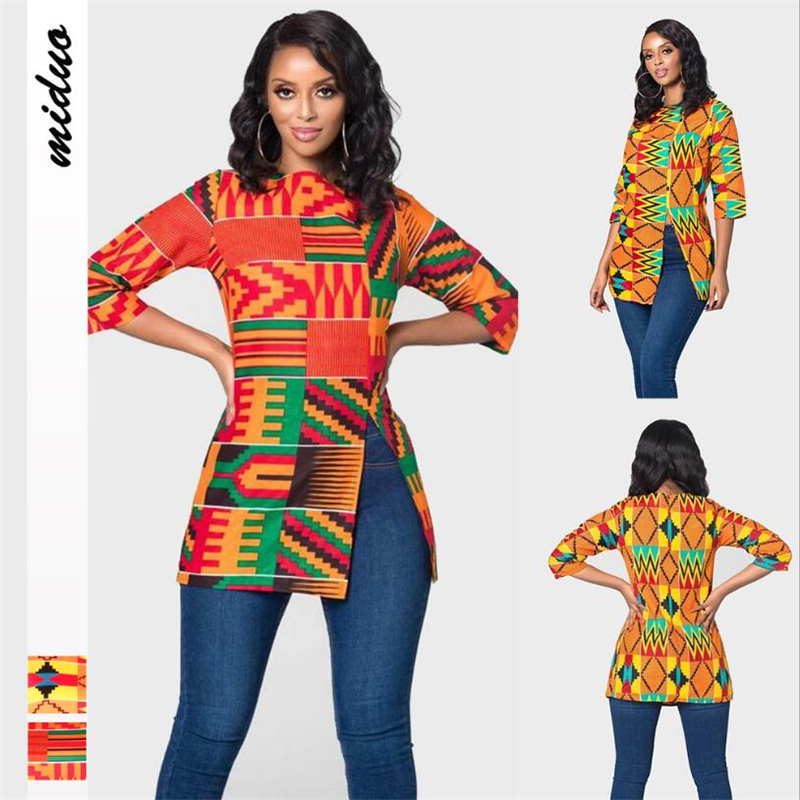 2020 Fashion African Cloth For Women Long Shirt 3/4 Sleeves Printed Blouse Ladies New Design Autumn Shirts