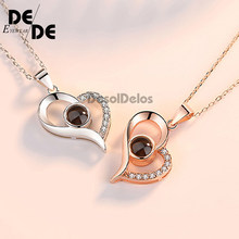 2019 Heart 100 Languages I Love You Pendant Necklace For Women Girls Wedding Necklace Choker Gift for Lovers Fasion Jewellery(China)