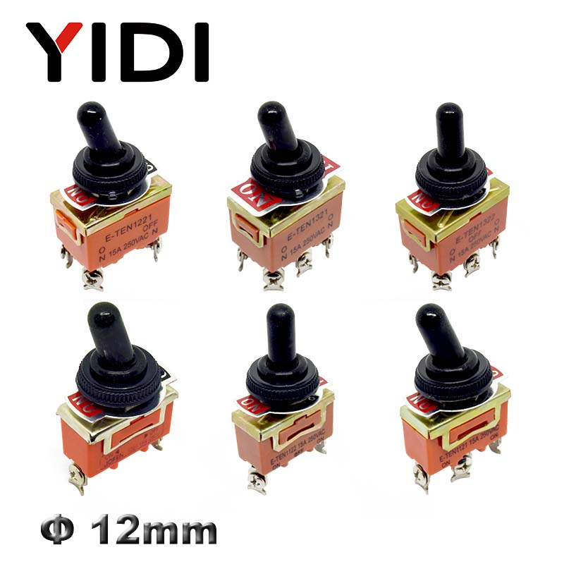 15A 250V KN3C E-TEN1322 1021 1122 1221 1321 6pin Toggle Switch On Off SPST Switch 3pin On Off On DPDT Waterproof Cap Cover