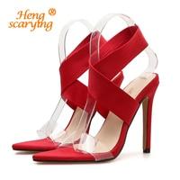 2019 Summer Women 11cm High Heels Stretch Sandals Female Fetish Transparent Heels Shoes Lady Cross Strap Sexy Platform PVC Pumps