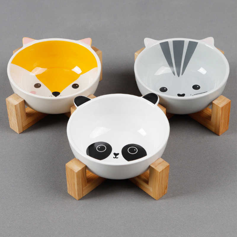 New cartoon shape pet bowl Net red ceramic cat food bowl Bamboo wood bracket cat bowl Pet supplies bowl Three colors optional