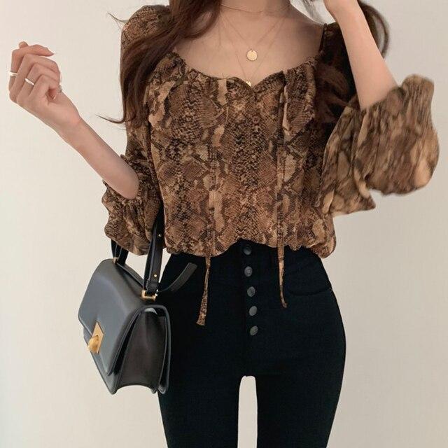 woherb sexy crop blouse Women Puff Sleeve snake print Elegant Lace Up summer thin blusas shirt 2021 korean Chic Female Shirts 2