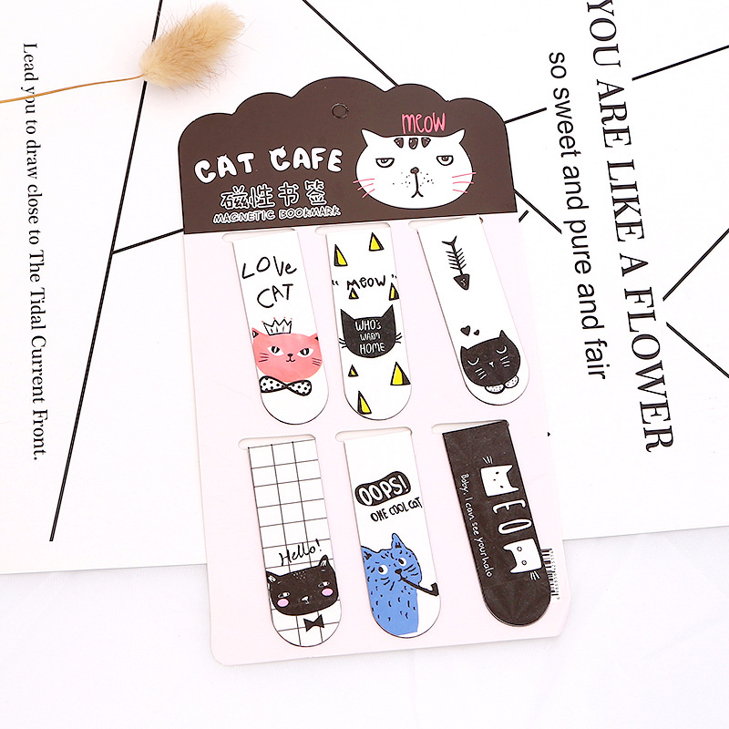 6pcs /Set Kawaii Cat Cactus Magnetic Bookmarks Books Marker Of Page Stationery School Office Supply Paper Clip