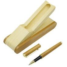 Один комплект природа гелевая ручка под бамбук с подарком Чехол
