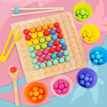 Educational Toys Clip-Beads Beads-Board Rainbow-Toy Games Montessori Wooden Puzzle Dots