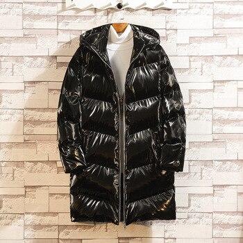 Color: Black Silver 2020 Winter New Silver Medium Long Cotton Jacket Men's Bright Cotton Jacket Men's Large Size Cotton Jacket