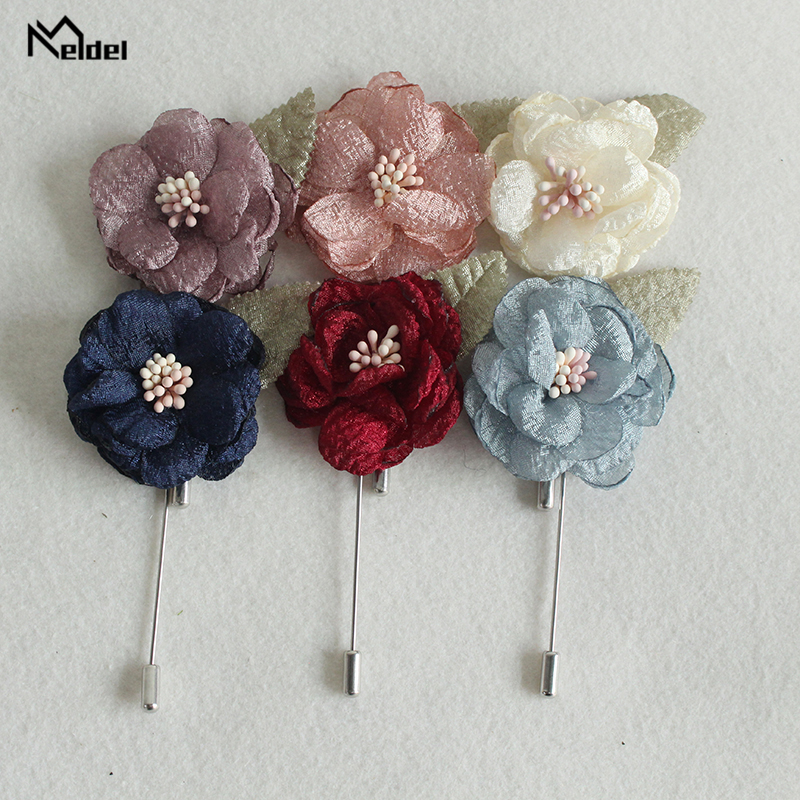 Meldel Men's Suit Brooch Wedding Corsage Prom Boutonniere Artificial Fabric Flower Handmade Men Suits Accessories Party Wedding