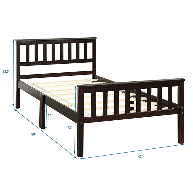 Twin Size Pine Wood Bed Frame  5