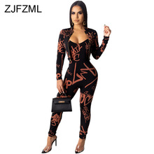 цена на Letter Print Casual Two Piece Set Women Clothes Spaghetti Strap Skinny Jumpsuit And  Zipper Up Long Sleeve Crop Jackets Outfits