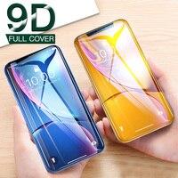 Protector de pantalla de vidrio templado curvo para iPhone, cubierta completa HD 9D para iPhone 7 7Plus 6 6s 8 Plus, X XR Xs 11 Pro Max 10