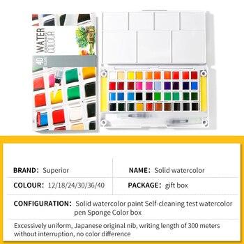 Superior 24/36/48 Sólida Aquarela Tintas Pigmento Com Presente Pen Para A Pintura De Água Escova Transparente Acuarela Arte Suprimentos