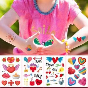 10Pcs / Lots Cute Loving Stickers Cartoon Children Temporary Tattoo Stickers Body Stickers Tattoo Patterns Random