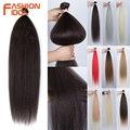Модные кудрявые прямые волосы, синтетические, 36 дюймов, прямые пряди Yaki, светлые волосы для наращивания, пупряди для плетения, бесплатная до...
