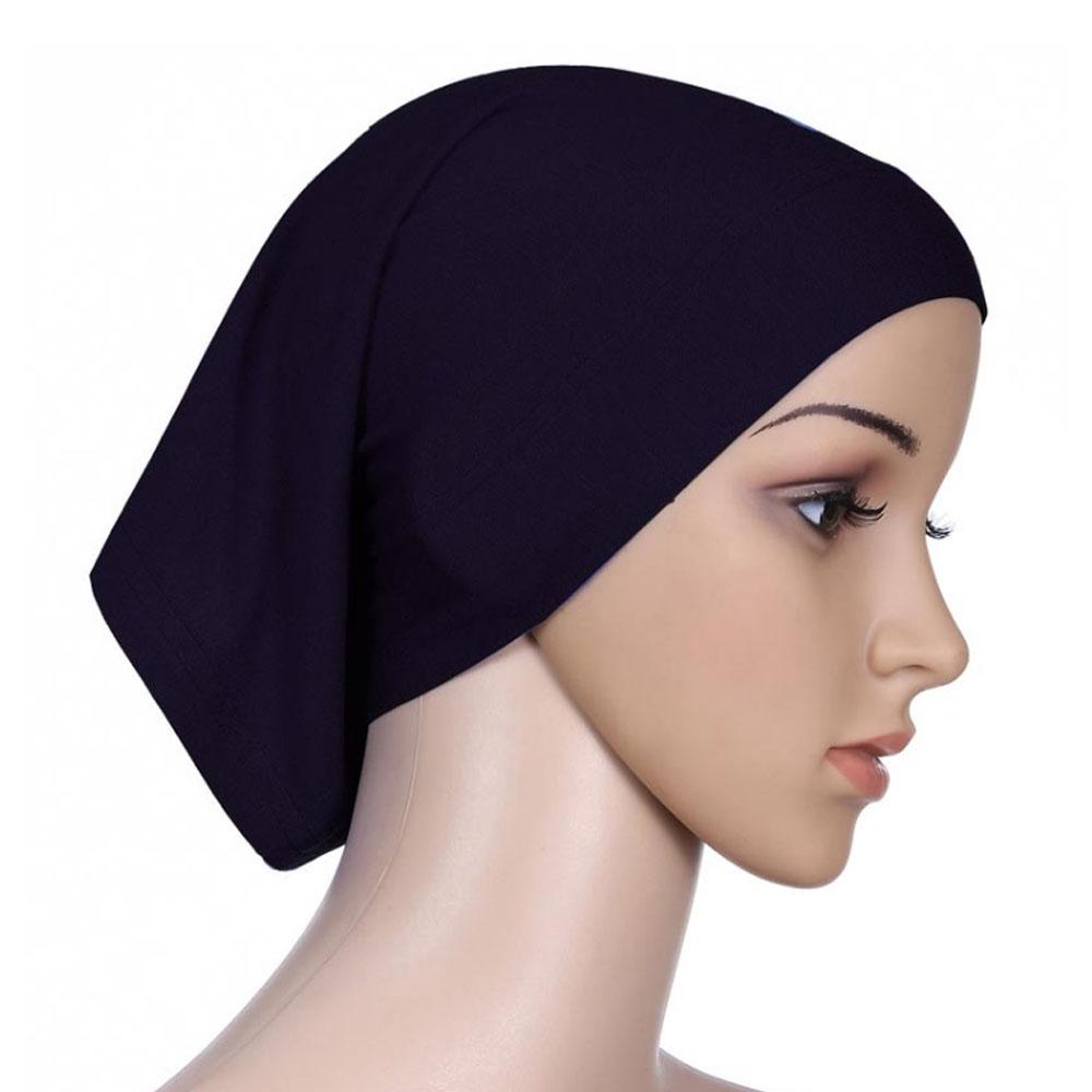 Мусульманский женский шарф Национальный Рамадан аксессуары для волос тюрбан декоративная хлопковая шапка шапочки под хиджаб Мода Защита от солнца пляж - Цвет: Black