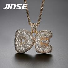 JINSE Custom Name Necklace Personalized Bubble letter Pendant Necklace Cubic Zircon Iced Initials Necklace Hiphop Jewelry personalized old english initials necklace custom letter necklaces