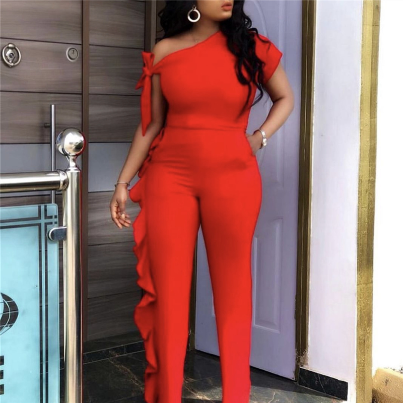One Shoulder Sexy Jumpsuits Irregular Sleeves Elastic Ruffles Women Spring Summer Orange Overall Slim Bodysuit Female Plus Size