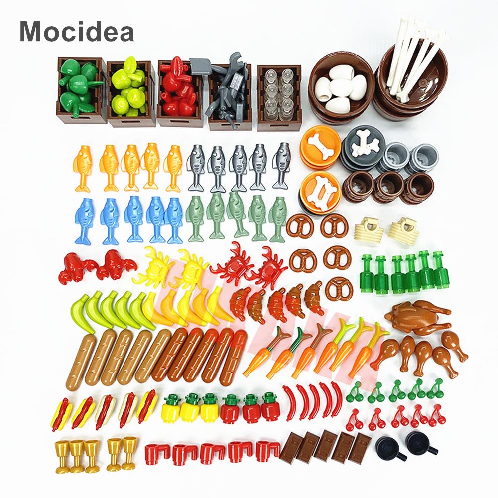 Full Set DIY Building Blocks Food Bread Fish Fruit Roast Chicken Toys MOC Parts City Accessories Bricks Compatible Mocidea Brand
