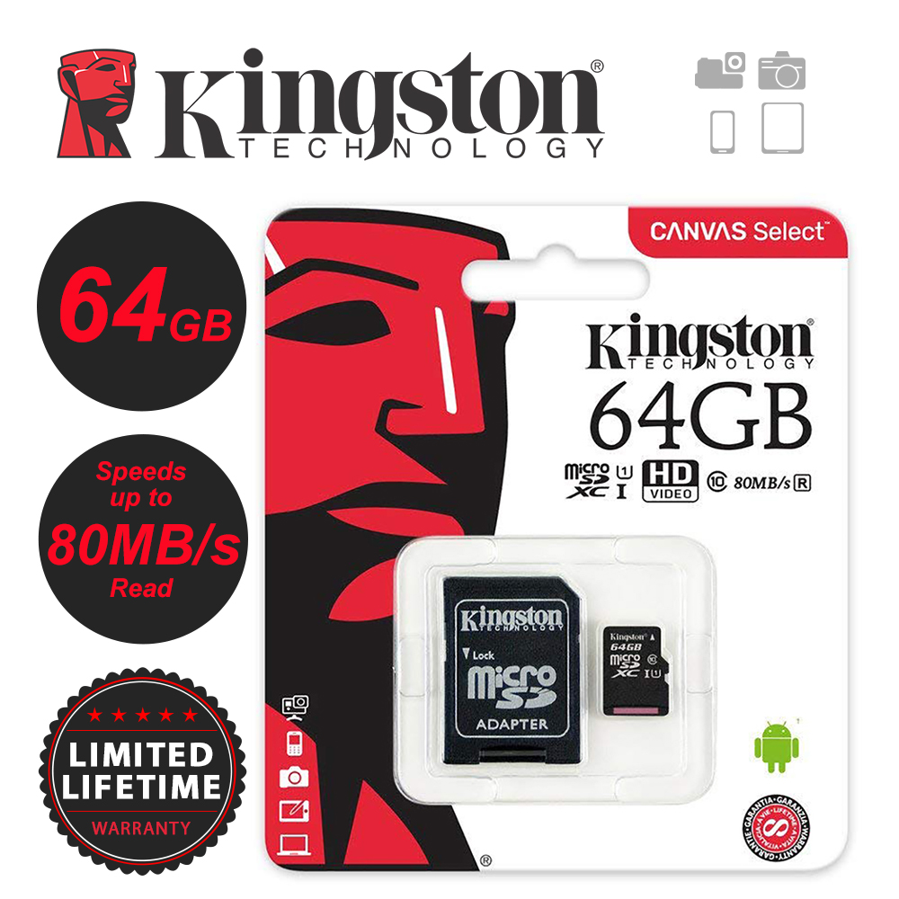 Kingston 256GB 128GB 64GB 32GB 16GB 8GB 4GB Micro SD SDHC / SDXC Class10 Memory Card TF Up To 80MB /s R With SD Adapter