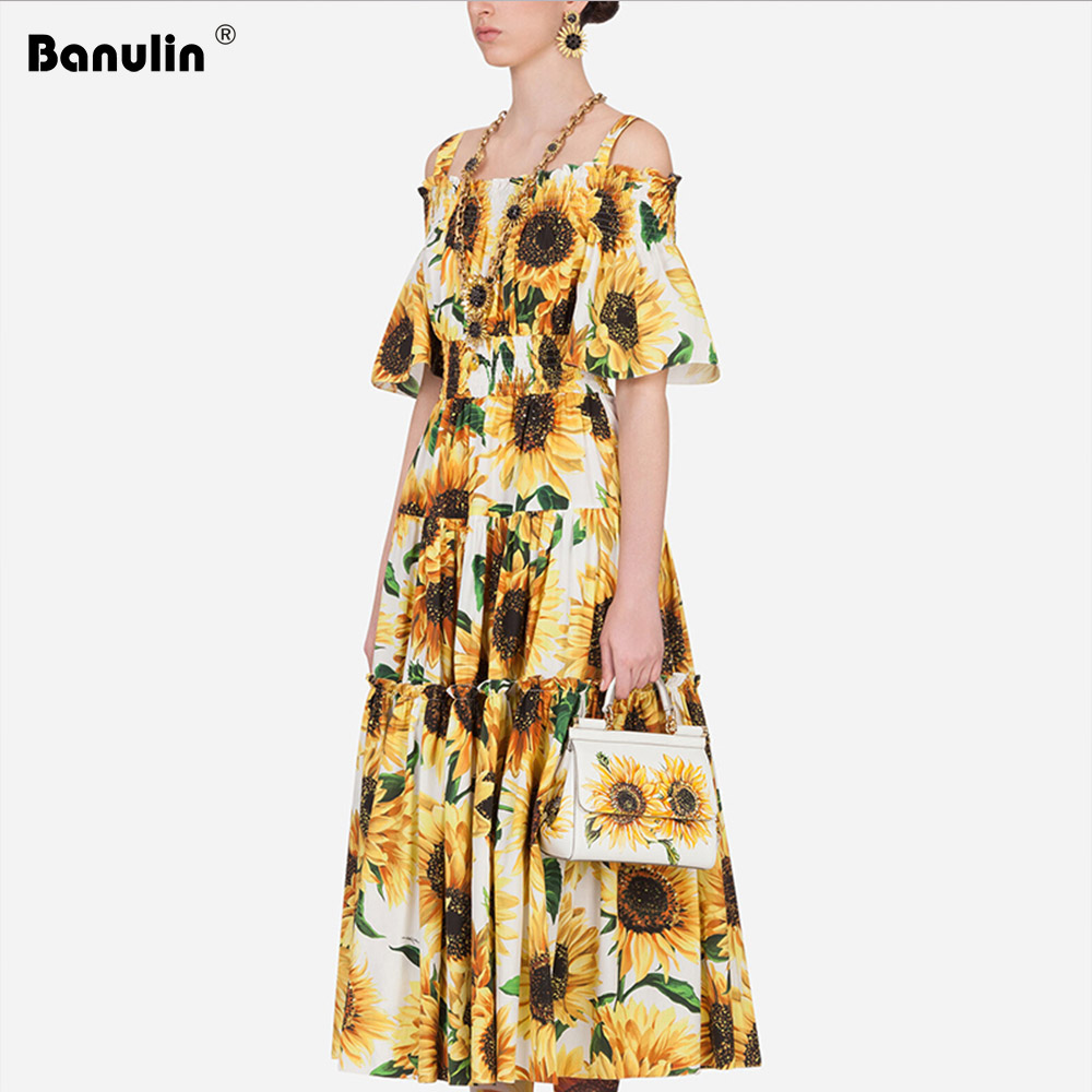 Fashion Runway Casual Summer <font><b>Dress</b></font> Women's Off Shoulder Elegant <font><b>Yellow</b></font> <font><b>Sunflower</b></font> Print Elastic Waist Midi A Line Holiday <font><b>Dress</b></font> image