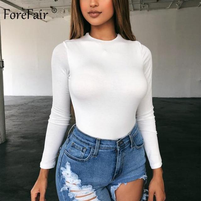 Forefair Sexy Skinny Solid Long Sleeve Bodysuit Women Bodys Top Autumn Winter Female Elegant O Neck Slim White Black Bodysuit 2