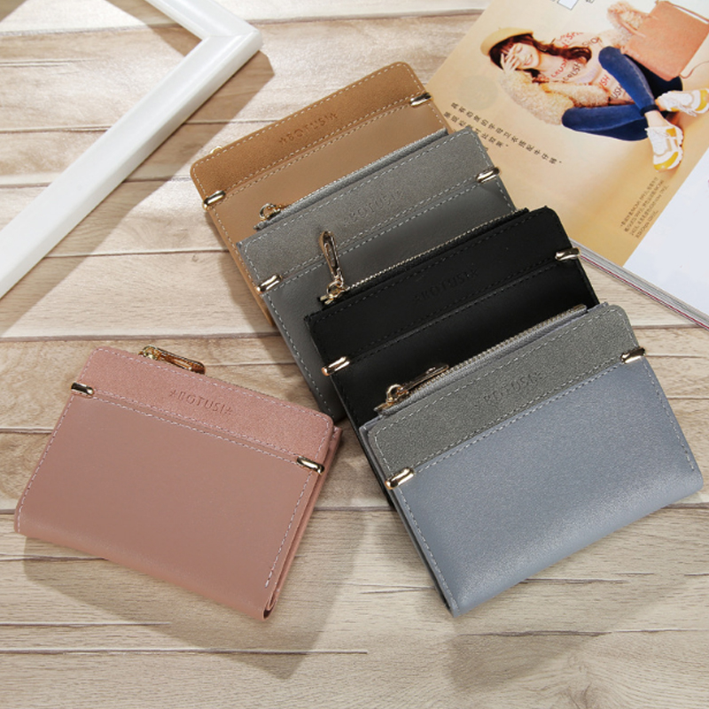 Sale Women Wallets Sale Leather Female Purse Mini Hasp Solid Multi-Cards Holder Coin Short Wallets Slim Small Zipper Wallet
