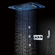 LED Shower head 580*380mm  Waterfall Rainfall Bathroom Brass Faucets Unit Massage Phone Control Light Color