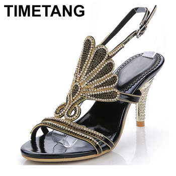 TIMETANGBig Size Crystal Flowers High Heels Women Sexy Sandals New Arrival Fashion Real Leather Open Toe Summer Shoes E1075