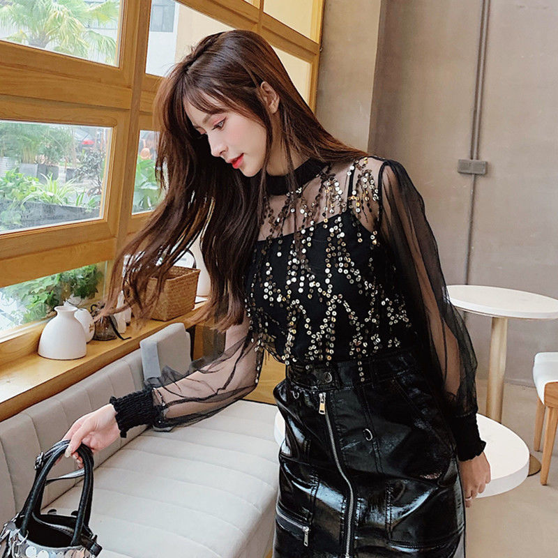 Spring Beading Mesh Blouses Women Sweet Lantern Sleeve Pearls Gauze Blouses Ladies Elegant Shirt Tops Stand Collar Chiffon S-2XL 12