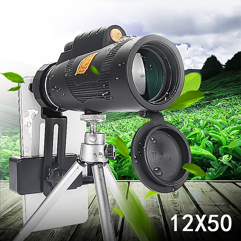 Tools : 12x50 Telescope Powerful Monocular Telescope Pocket Optional With Smart Phone Holder Suitable For Hiking Camping Tourism
