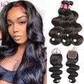 Vallbest, бразильские волосы, волнистые пряди, 4x4, человеческие волосы для наращивания, 3 пряди, с закрытием, 100 г/шт., плетеные пряди