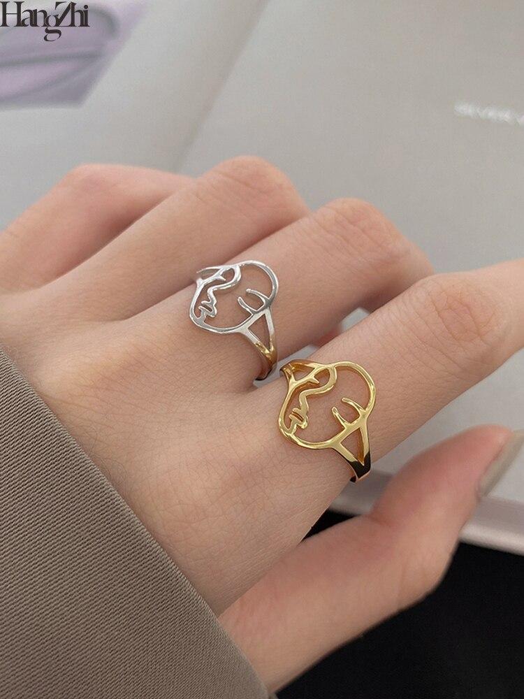 HangZhi 2020 новые корейские винтажные открытые Регулируемые кольца золотого и серебряного цвета с абстрактным изображением лица для женщин