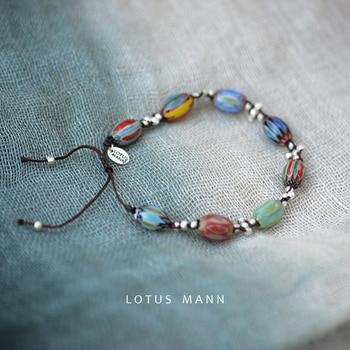 Lotus Mann cross Woven 925 Silver Old Glass Bead Adjustable Bracelet