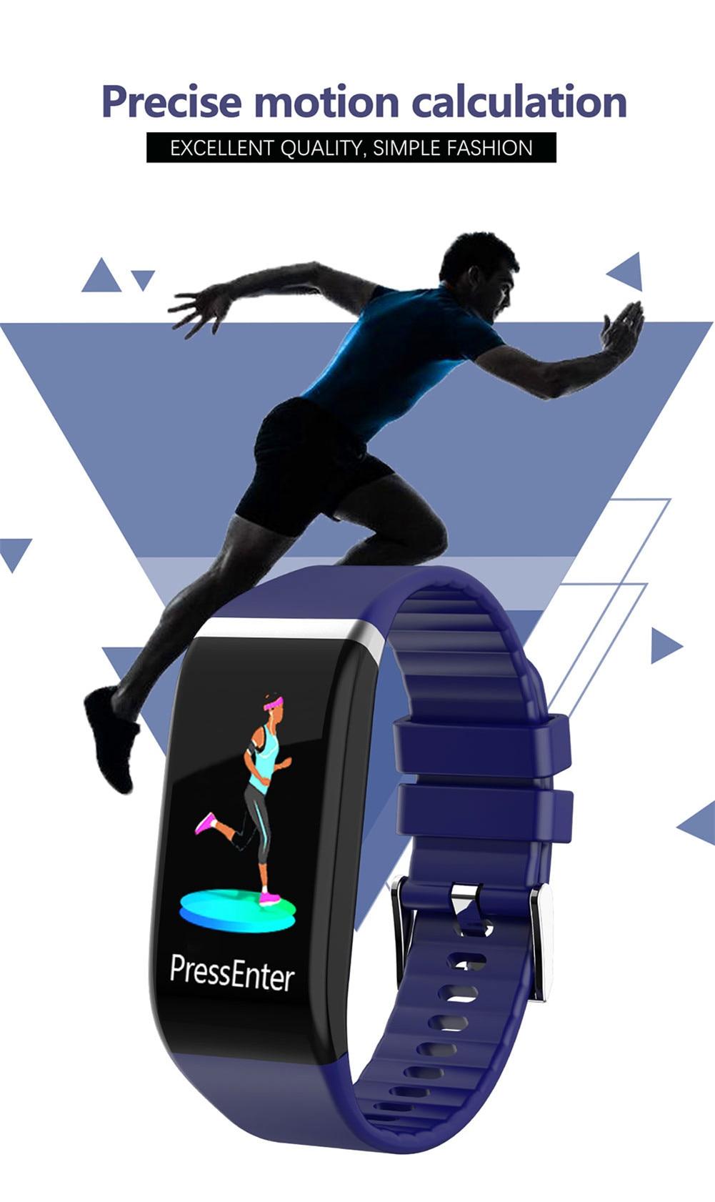 H9da4fe489cde4adf98198f6c805fd92b4 Smart Band Blood Pressure 1.14'' Screen Fitness Tracker Watch Heart Rate Fitness Bracelet Waterproof Music Control For Men Women