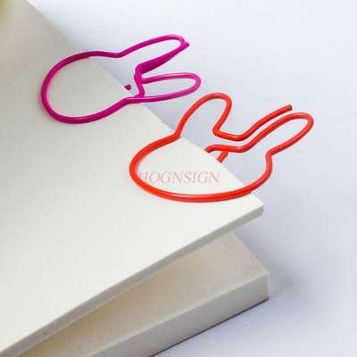 10pcs Rabbit Paper Clip Paper Clip Creative Cute Color Paper Clip Student Stationery Clip Hand Account Clip